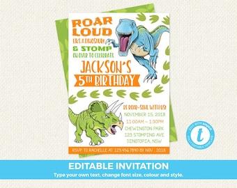 Dinosaur Birthday Invitations Dinosaur Birthday Invitation
