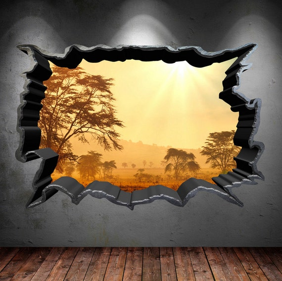 Wall Decal Cracked Hole Safari Home 3D Full Colour Wall Art