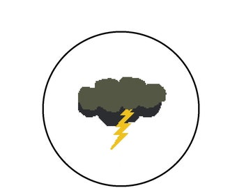 Lightning Bolt Cross Stitch Pattern, Storm Cross-Stitch Pattern PDF, Weather Clouds