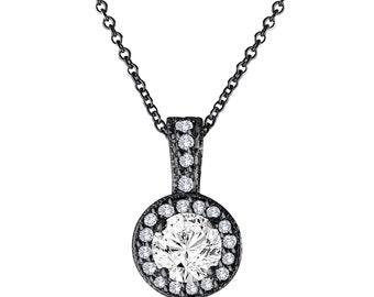 Diamond Pendant Necklace 14K Black Gold Vintage Style 1.23 Carat Halo Pave Handmade