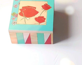 Jewelry box, storage box, poppies, spring box, ideal gift for Mother's Day.