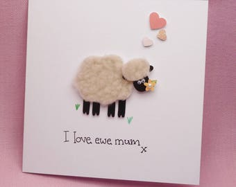 Mothers Day card I love ewe mum fluffy sheep
