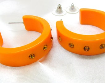 Vintage Orange Lucite Rhinestone Hoop Earrings