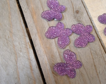 Set of 5 Butterfly purple craft 3 cm * 2.5 cm