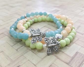 Stack Gemstone Bracelets - Beaded Bracelet, Faceted Agate, Amazonite,  Elastic Bracelets, bohemian beautiful, Handmade gift, gifts for her