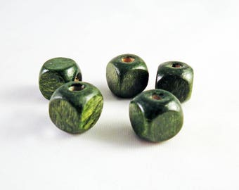 PBB32 - Set of 25 square Cube 8mm X 8mm cubic khaki Olive green wooden beads