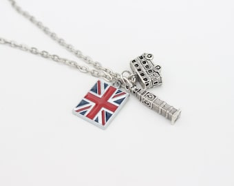 London's calling, British, union jack travel charm necklace.