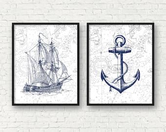 Vintage Ship Art, Nautical Art, Anchor Art Print, Nautical Bathroom Decor,  Vintage Nursery Nautical Decor, Sea Life Prints, A 2010