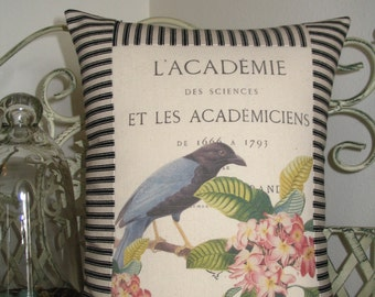 French Bird Pillow Cover with Black and Off White Ticking Stripe, Decorative Throw Pillow, French Script