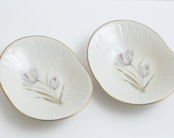 Ring plates, Set of 2 Bavarian desserts plates by Zeh Scherzer / Bavarian porcelain / Bavarian plates / Vintage porcelain plates / 1950s
