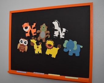 Magnetic Chalkboard WITH Crazy Zoo Animal Magnets