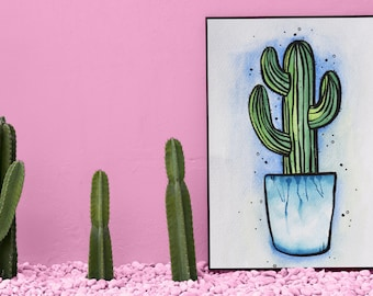 A4 Watercolour & Ink Cactus Print Download
