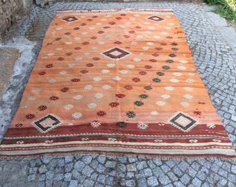 Turkish Kilim rug, Bohemian Rug, vintage rug, turkish Kilim, Turkish Rug, handwoven rugs, vintage kilim rug, Large Kilim Rug, Rugs 6x8