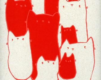 I Cat Even Handmade Screen Print Original Artwork
