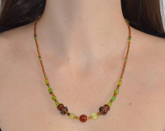 Autumn scent by Manaka.Lab beaded necklace