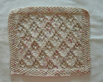 Hand Knit Cotton Dishcloth or Washcloth - color is called Aran - measures approximately 9x10 inches
