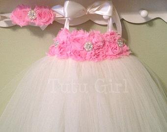 Flower Girl Dress Ivory Pink tutu dress baby dress toddler birthday dress wedding dress, Bubble Gum Pink Tutu Dress
