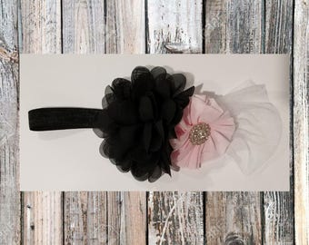 Black and Pink Chiffon Flower headband