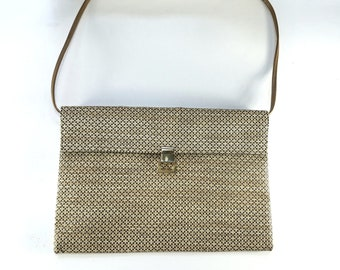 Robert Bestien Vintage Envelope Shoulder Bag Clutch, Faux Straw Design, 1960's