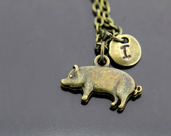 Pet Lover Gift Pet Gift Pig Necklace Bronze Pig Charm Pig Charm Pig Lover Gift Animal Jewelry Pig Pet Personalized Necklace Initial Charm