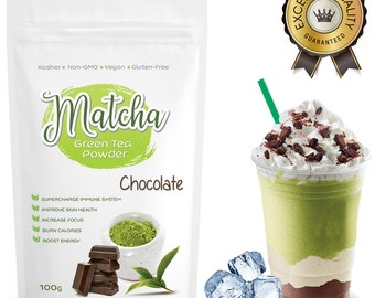 Japanese Chocolate Matcha (100g) Rich in Antioxidants, Supports Weight Loss & Boosts Energy- Natural Flavor, No Sugar-FREE USA Shipping