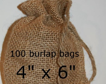 Burlap Bags Wedding Burlap Favor Bags  Rustic Wedding 100 Burlap Bags 4x6