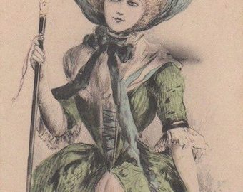 Art Nouveau Lady In Green As A Marquise Original Antique Art Postcard