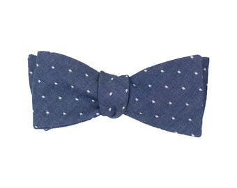 Nightfall Chambray Dot Bow Tie