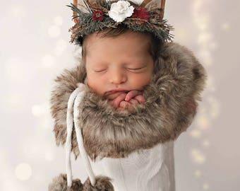 Sadie--Newborn Woodland Creature Flower Crown--Flower Halo--Deer Crown