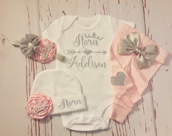 baby girl coming home outfit, newborn baby girl, take home outfit, name, personalized, outfit, baby clothes, newborn, little sister, mint
