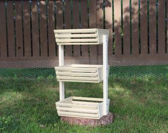 3 Tiered Kitchen Storage, Storage Basket, Vegetable Bin, Market Basket, Wooden Basket, Vegetable Storage, Fruit Basket, Organization