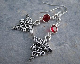 Nurse Practitioner Birthstone Earrings, NP Caduceus Earrings, Nurse Earrings, Personalized Swarovski Birthstone, Nursing Gift