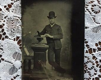Antique Tintype Photo of Man in Hat