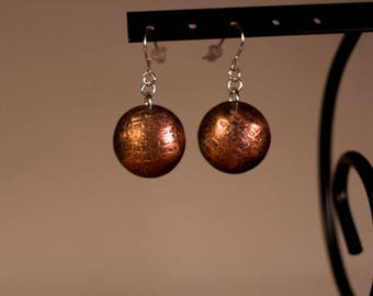 Hand Textured Domed Earrings
