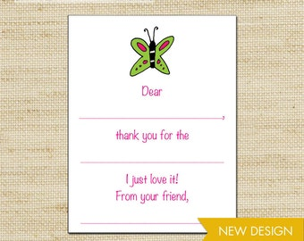 Butterfly Fill In Thank You Cards, Girls Thank You Cards, Birthday Thank You Cards, Kids Stationery, Eco Friendly, cards & envelopes