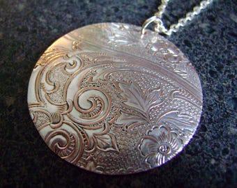 WISP - Damask Pendant, Organic Jewelry, Repurposed Necklace, Large Pendant, Statement Jewelry, EcoFriendly Jewelry, TruForm Jewelry, RWP08