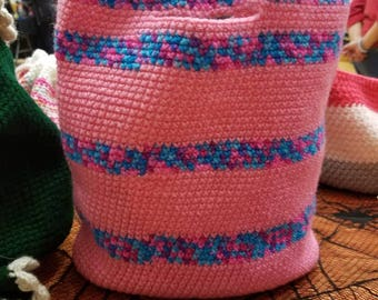 Pink and blue striped tote