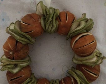 Dried whole orange and dried green apple slice wreath