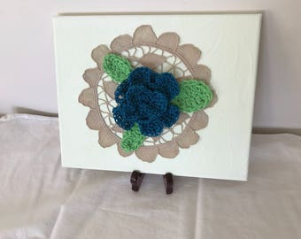 crochet flower art,home decor, vintage, shabby chic ,mixed media ,fiber art.