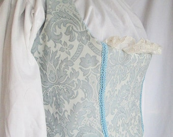 Tapestry Bodice - Blue Underbust Low-cut Historical Costume Bodice