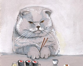Sushi Cat Grumps Print