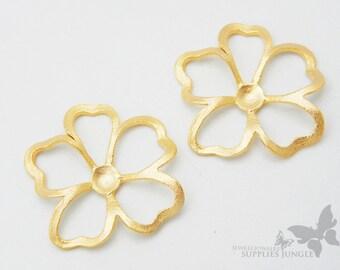 P294-MG// Matt Gold Plated Morning Glory Flower Pendant, 2pcs