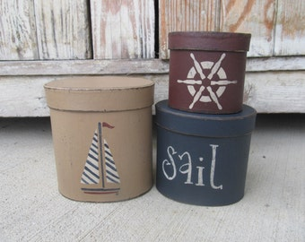 Nautical Beach Rustic Sailboat Ship Helm Set of 3 Oval Stacking Boxes GCC6278