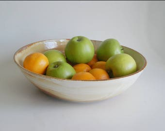 Porcelain Serving Bowl Large Rust and White Pottery Bowl Handmade Porcelain Bowl Fruit Bowl