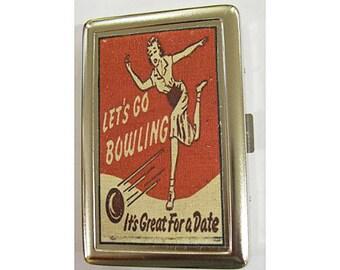 Bowling metal wallet retro cigarette case vintage 1950's ID case rockabilly bowling alley kitsch