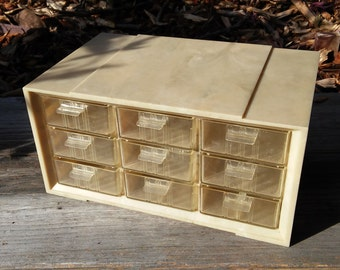 Vintage A-M 9 drawer storage organizer pearlescent off-white/tan color