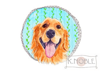 Print of Smiling Golden Retriever Original Watercolor Pen and Ink  Drawing, Whimsical Painting for Dog Lovers