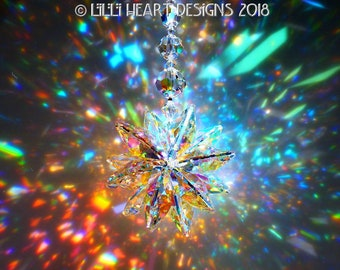 m/w Swarovski Crystal MASSIVE Gigantic RAINBOWS 28mm Aurora Borealis Lily Octagons Suncatcher Star For Home Decor by Lilli Heart Designs