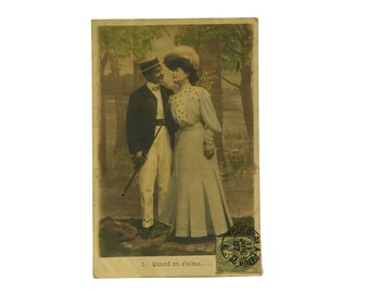 Antique French Romantic Postcard with Courting Couple. French Paper Ephemera. Engagement Invitation.