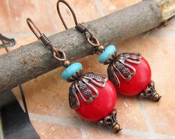 red earrings Southwest earrings  dangle drop earrings - Boho Bohemian jewelry fashion